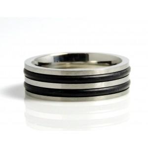 Bague acier 316 L et silicone noir