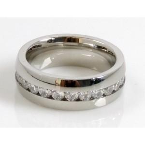 Bague alliance pour homme en acier 316 L, anneau orné de strass