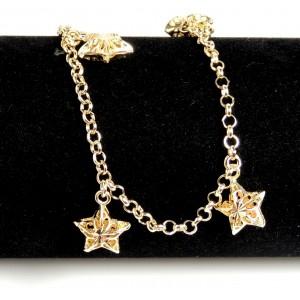 Chaîne de cheville en plaqué or de qualité, étoiles en volume pendantes