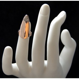 Bague d'ongle ajustable en métal couleur or rose orné de strass