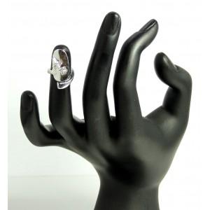 """Bague d'ongle ajustable en métal argenté """"libellule"""" et strass"""