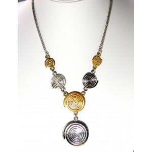 Collier métal argenté et doré Hypnoz, spirales dorées et argentées