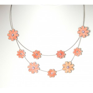 Collier en métal peint, fleurs et strass roses