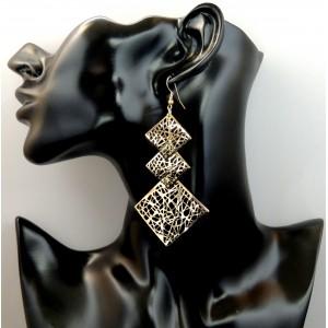 Boucles d'oreilles longues tendance en métal doré travaillé, 3 niveaux