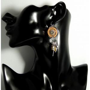 Boucles d'oreilles pour femme de style ethnique, couleur taupe et jaune dominante