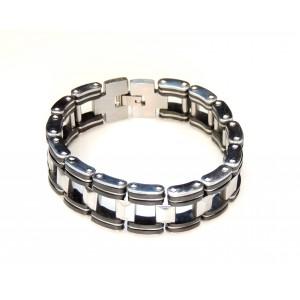 Bracelet large pour homme en acier inoxydable et silicone noir