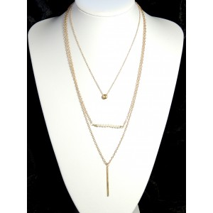 Collier fin en métal doré 3 niveaux avec une barrette de perles blanches nacrées
