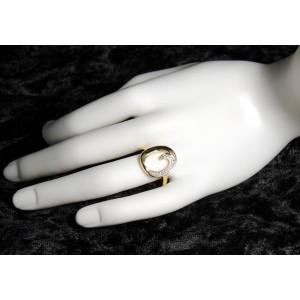Bague en plaqué or de forme ovale ornée de petits diamants (zirconium)