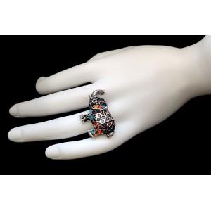 Bague ajustable en forme d'éléphant avec cristaux multicouleurs