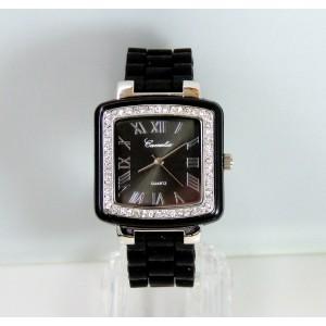 Montre carrée pour femme avec bracelet en silicone noir et strass