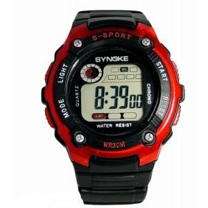 Montre homme sport rouge multifonctions, bracelet silicone noir