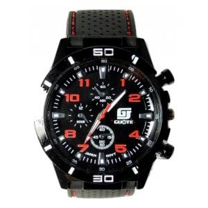 Montre homme sport, cadran noir, aiguilles blanches, chiffres rouges, bracelet noir et surpiqûres rouges
