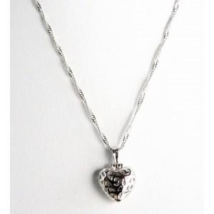 Collier en argent 925, pendentif en forme de cœur et zircon rose à l'intérieur