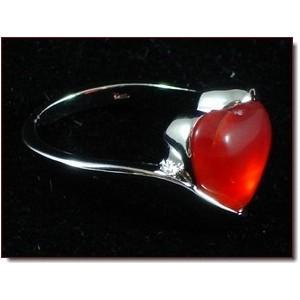 Bague pierre naturelle cœur rouge ornagé, femme