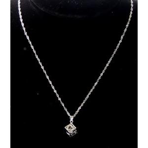 Collier ras de cou en argent 925, pendentif cube enfermant un cristal