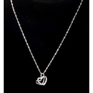 Collier ras de cou en argent 925, pendentif double cœurs