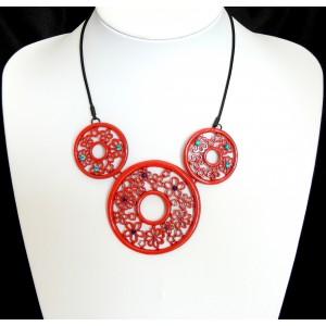 Collier ras de cou , trio métal rouge et cristal