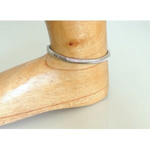 Bracelet de cheville en métal argenté avec maille serpent articulée