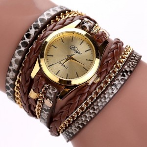 Montre mutirangs cuir et chaîne, couleur dominante marron