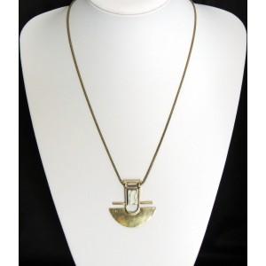 Collier long vintage avec chaîne serpent et pendentif couleur bronze orné d'une pierre
