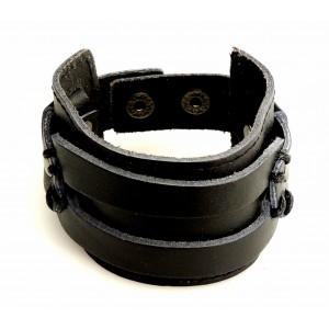 Bracelet manchette en cuir véritable noir épais