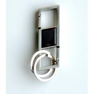 Porte-clés double en métal et silicone, 2 anneaux