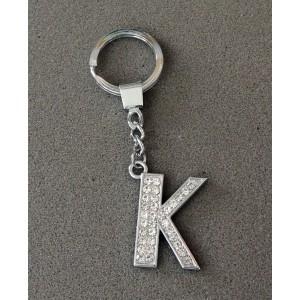 Porte-clés en acier inoxydable avec l'initiale L incrustée de strass