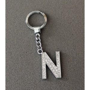 Porte-clés en acier inoxydable avec l'initiale N incrustée de strass