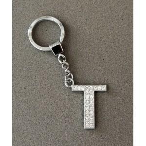 Porte-clés en acier inoxydable avec l'initiale T incrustée de strass