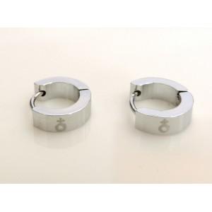 Boucles d'oreilles, créoles pour hommme en acier 316 L, symbole masculin gravé