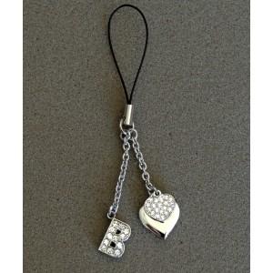 Bijou de sac en métal argenté personnalisé avec l'initiale B et des petits cœurs