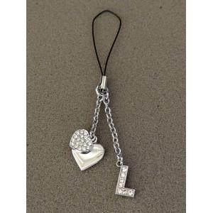 Bijou de sac en métal argenté personnalisé avec l'initiale L et des petits cœurs