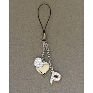 Bijou de sac en métal argenté personnalisé avec l'initiale P et des petits cœurs