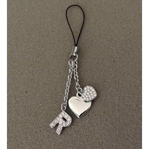 Bijou de sac en métal argenté personnalisé avec l'initiale R et des petits cœurs