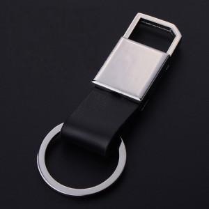 Porte-clés pour homme en métal chromé et cuir noir