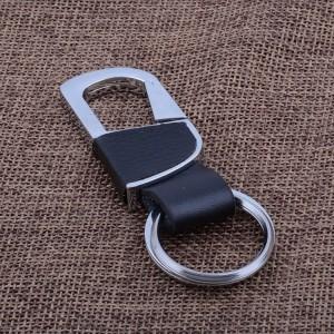 Porte-clés recouvert de cuir grainé noir