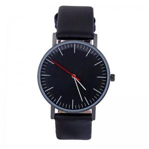 Montre ronde avec un cadran noir et bracelet en cuir véritable noir