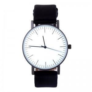Montre ronde avec un cadran blanc et bracelet en cuir véritable noir