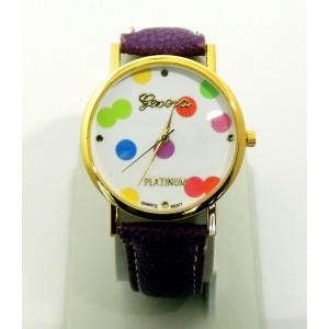 Montre avec cadran orné de confettis de couleurs différentes, bracelet violet