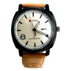 Montre avec cadran rond blanc et bracelet en cuir véritable beige