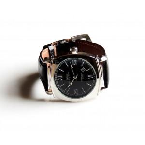 Montre homme avec bracelet en cuir véritable noir façon croco , marque française