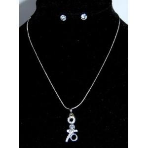Parure collier métal argenté, collier avec pendentif et boucles d'oreilles en strass