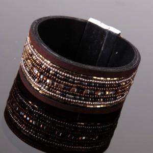 Bracelet ethnico fashion, déco strass et perles, tons marron et mordorés