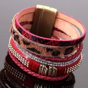 Bracelet Sylvania fashion, cordons multirangs, déco sauvage reptile, strass