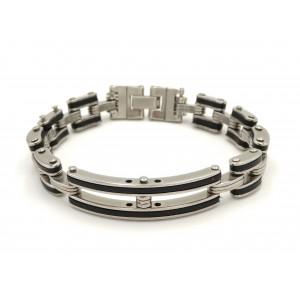 Bracelet en acier 316 L inoxydable et silicone noir