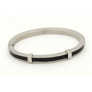 Bracelet menotte en en acier 316 L inoxydable et carbone