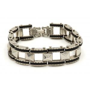 Bracelet acier 316 L avec maillons facetés et silicone noir