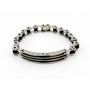 Bracelet en acier inoxydable et silicone noir, chaîne de vélo