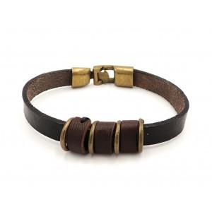 Bracelet unisexe en cuir véritale noir et marron, anneaux et fermoir en cuivre