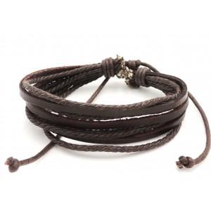 Bracelet unisexe en cuir véritable marron sur 3 rangs et 4 rangs de cordelettes